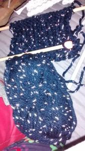 Navy yarn glowing