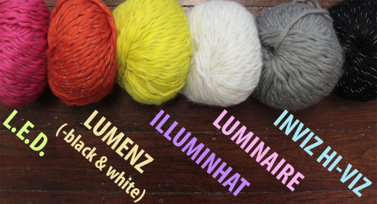 Yarn colours for L.E.D., Lumenz, IlluminHat and Luminaire