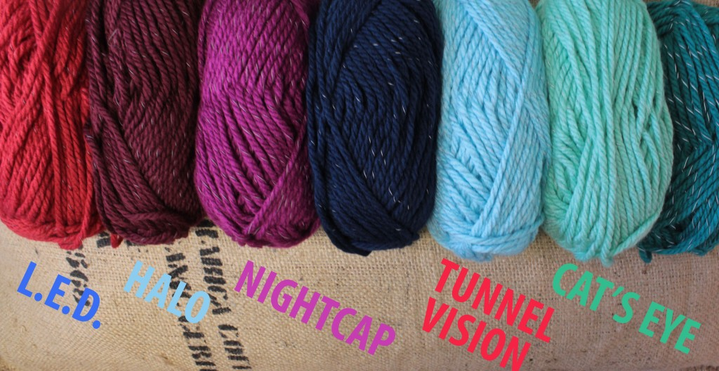 Yarn colours for L.E.D., Halo, NightCap and Tunnel Vision
