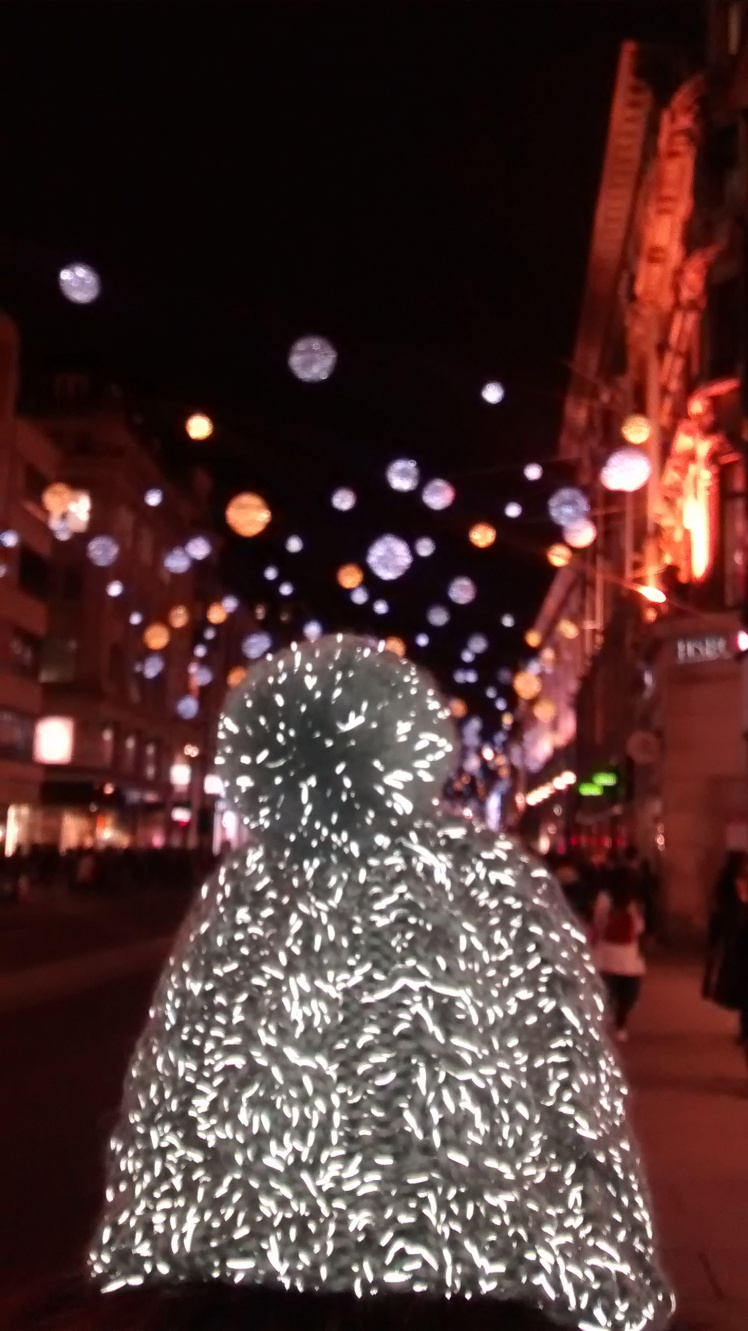 Oxford Street lights with glowing beanie